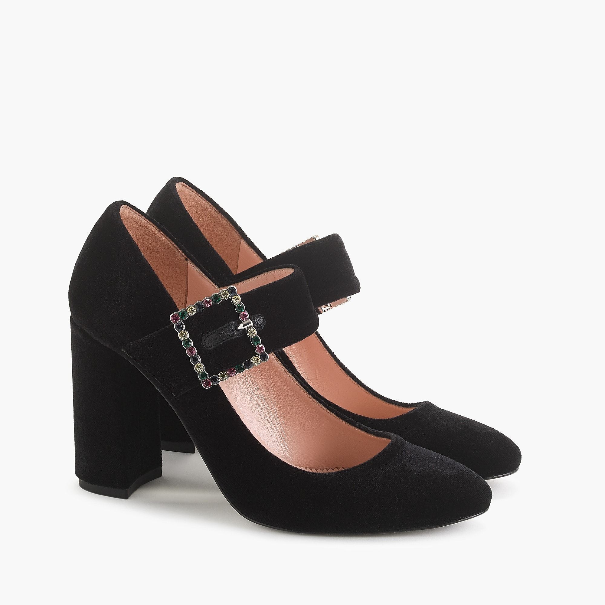 Velvet Block Heel Pump