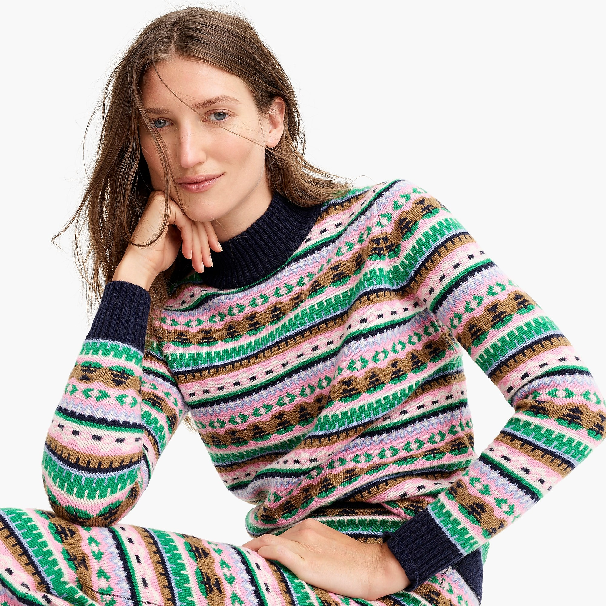 Mockneck Fair Isle Sweater