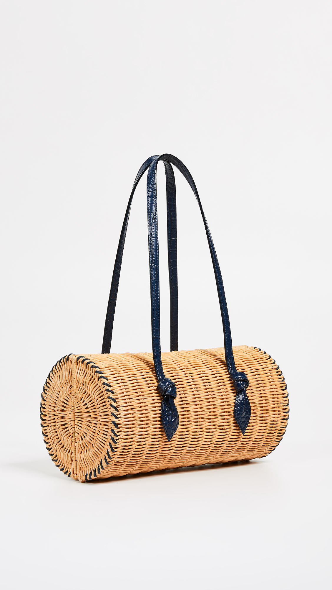 Straw Bag with Leather Handles