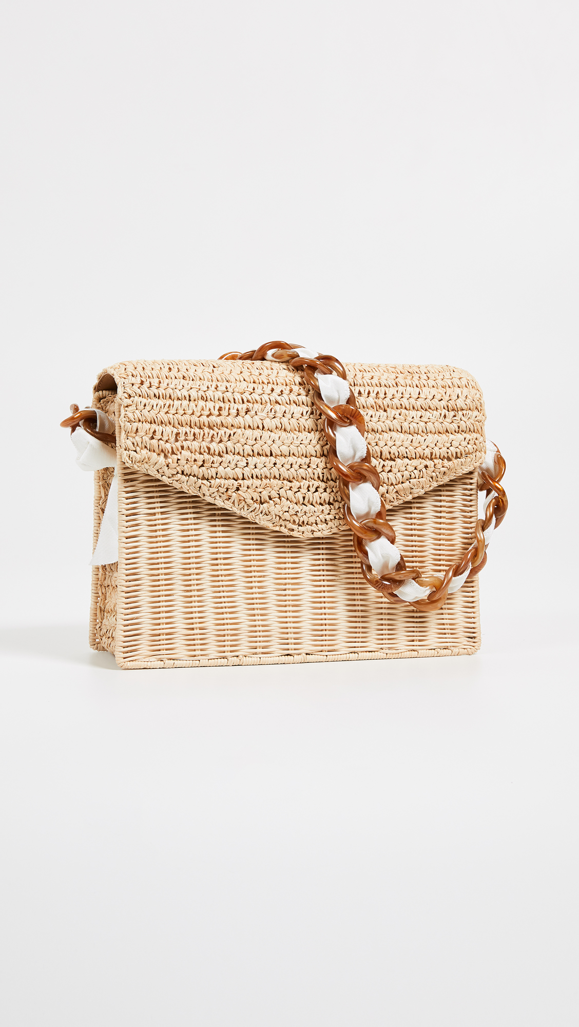 Leather and Straw Mixed Media Shoulder Bag