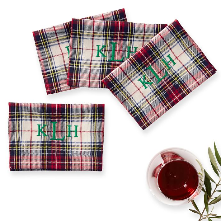 Plaid Cocktail Napkins Set