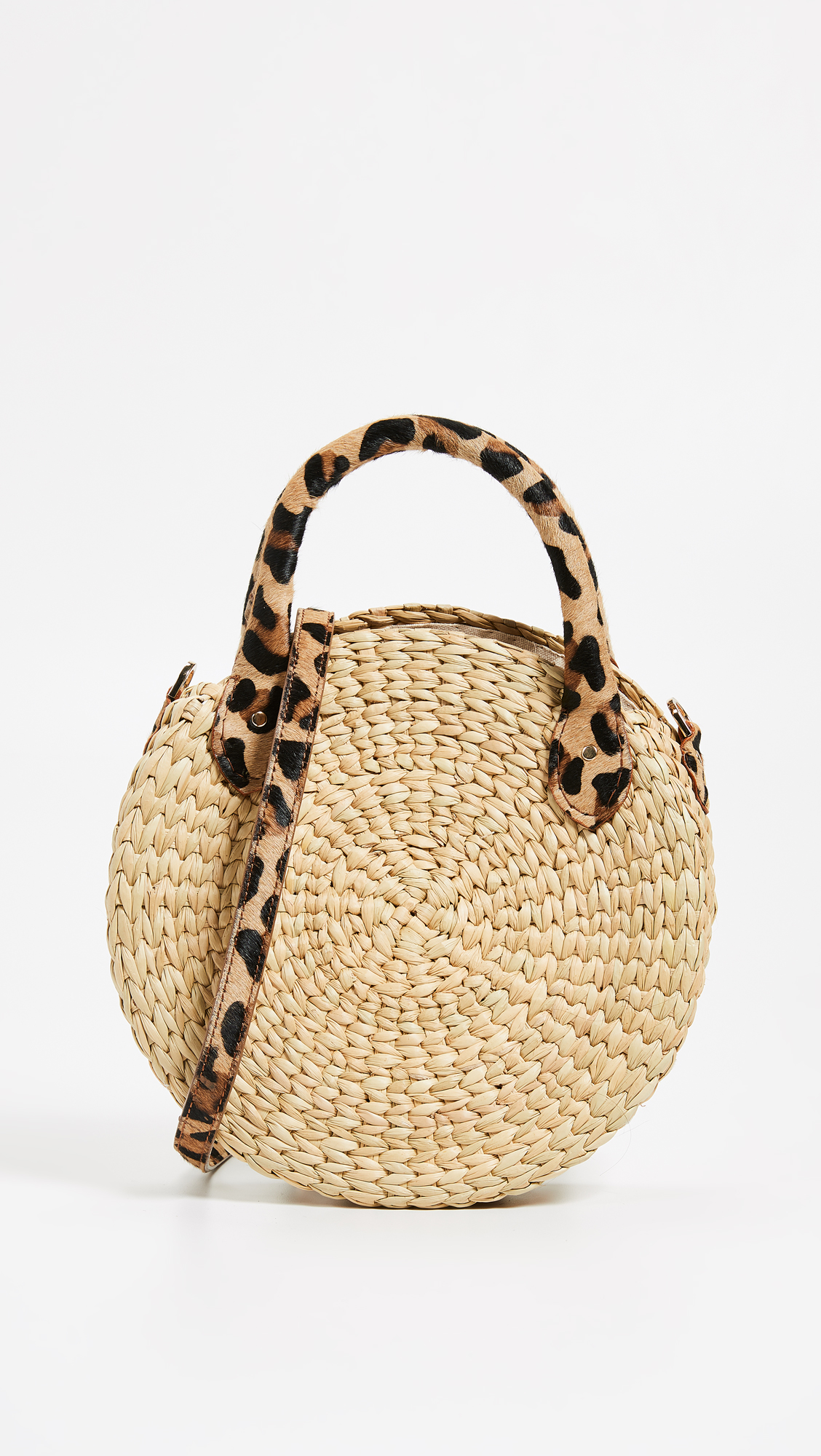 Straw Bag with Fur Leopard Print Handle