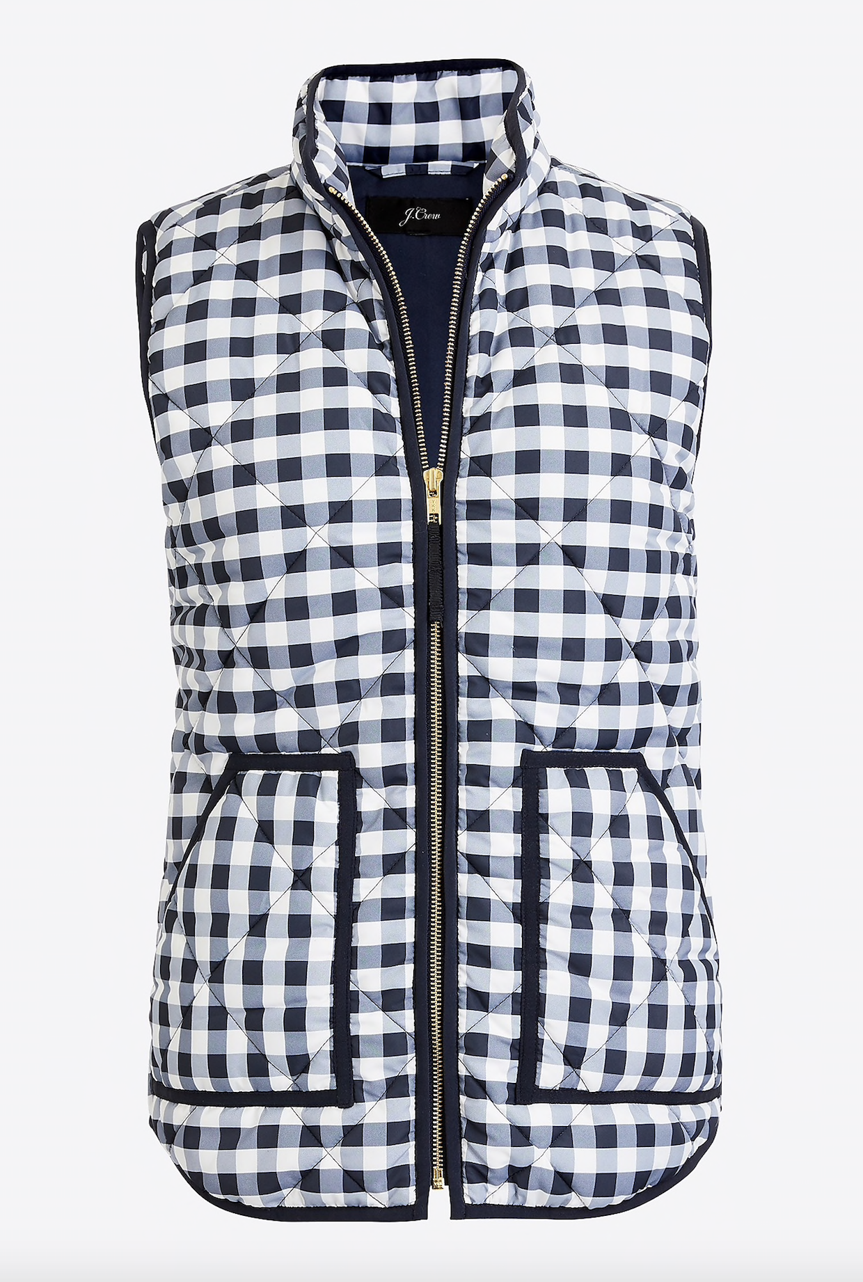 Quilted Gingham Puffer Vest
