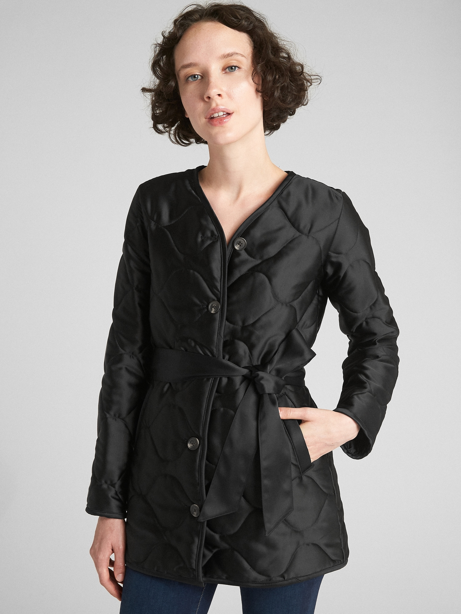 Quilted Tie Belt Coat