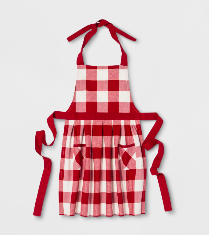 Red Buffalo Check Apron for Holiday Cookie Baking