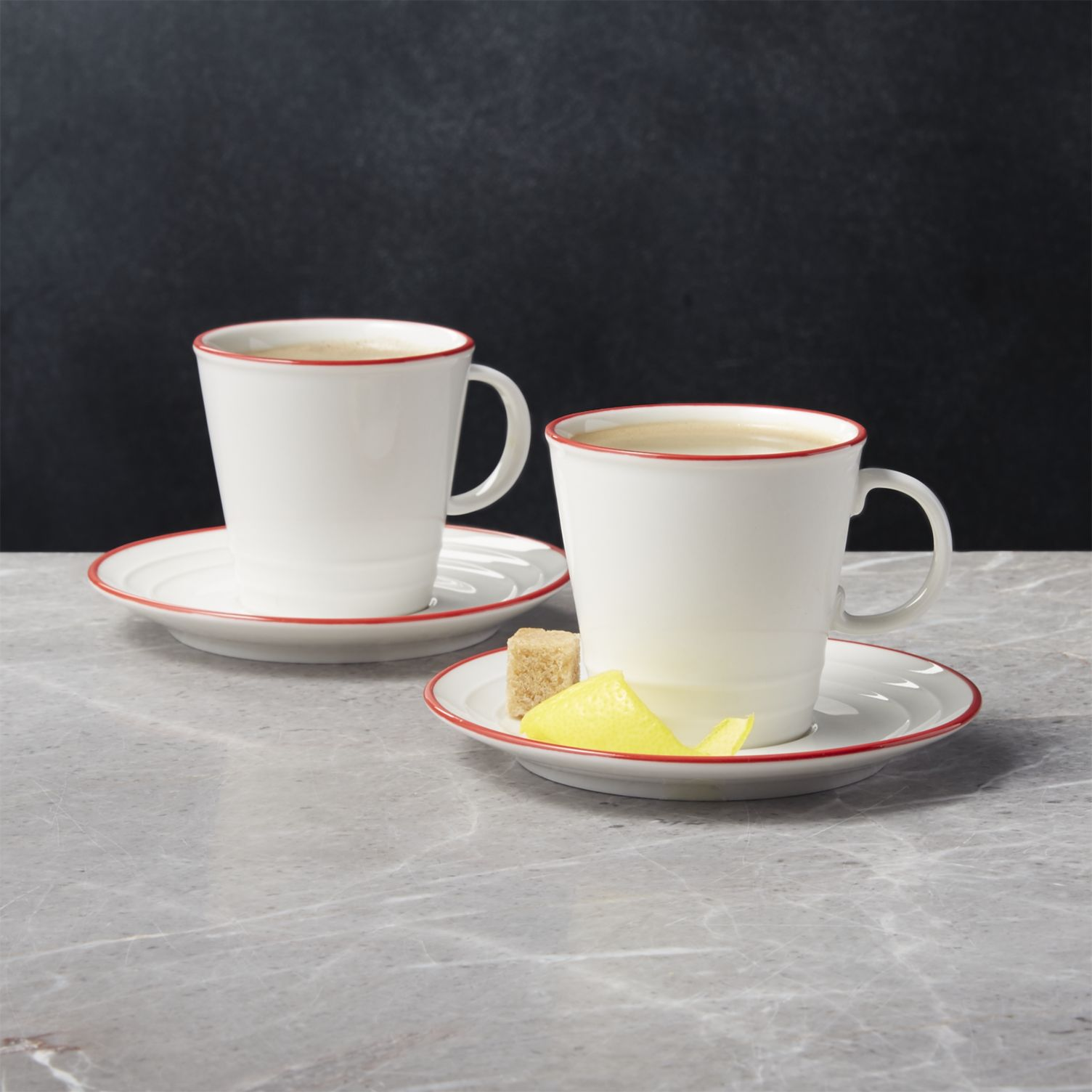 Red Rim Espresso Cups and Saucers