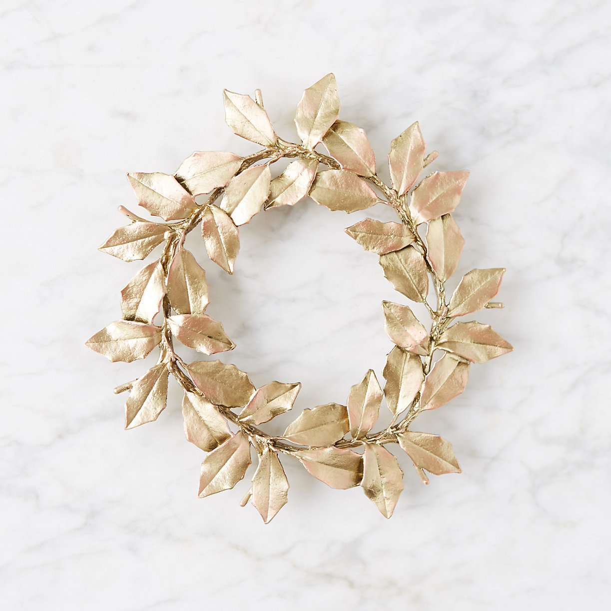 Gold Holly Leaves Trivet