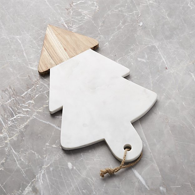 Wood and Marble Evergreen Tree Board