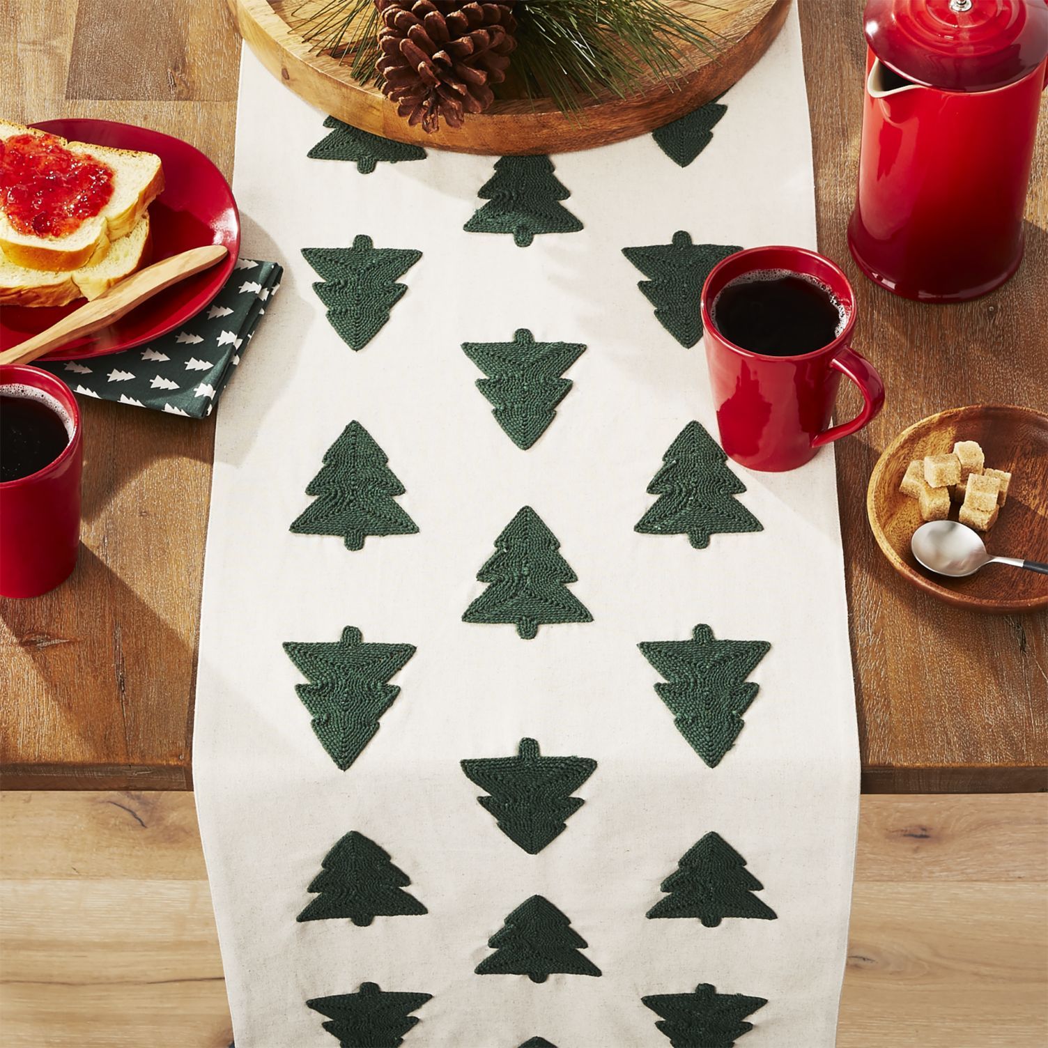 Woodland Trees Embroidered Table Runner Crate And Barrel Rows Of
