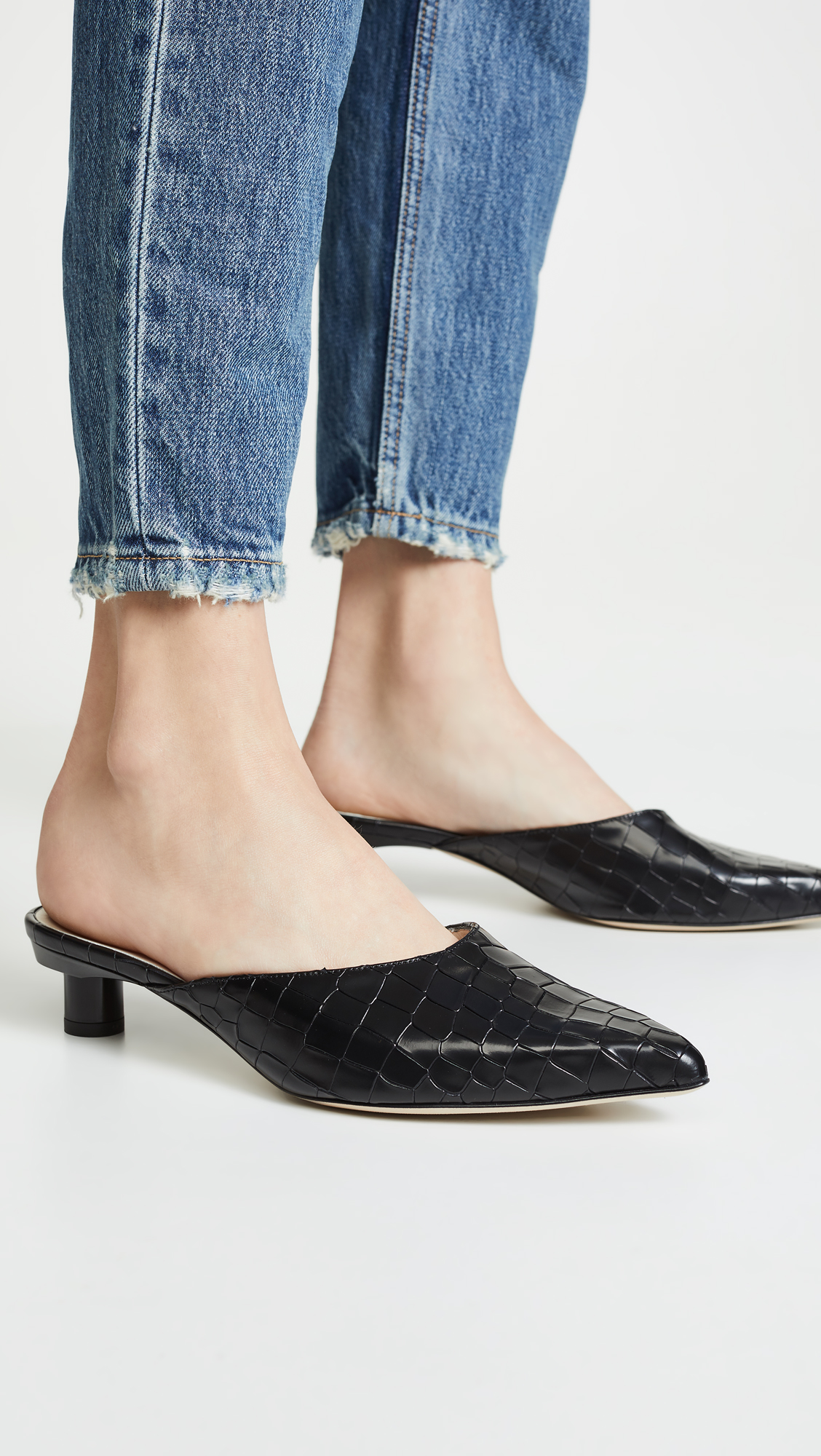 Croc Embossed Leather Mules