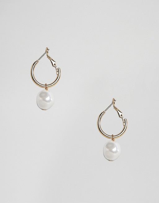 Gold Plated Hoop Earrings with Pearl