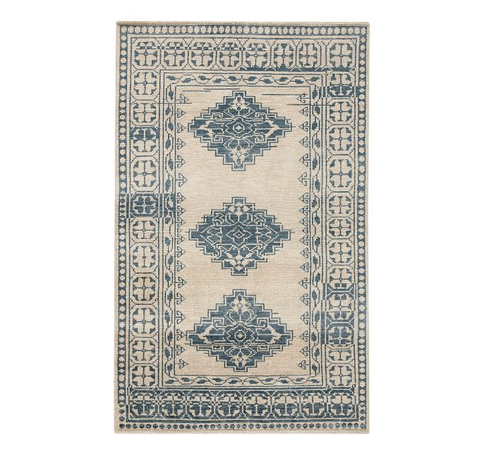 Jared Blue and White Hand Knotted Rug