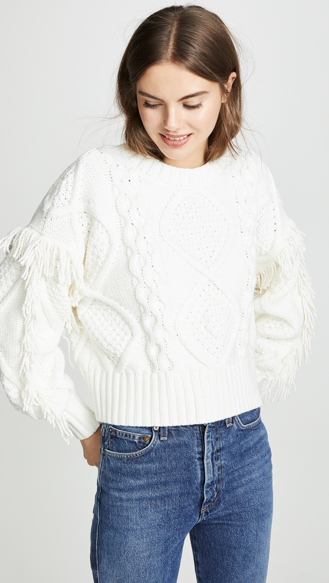 Fringe Cable Knit Sweater