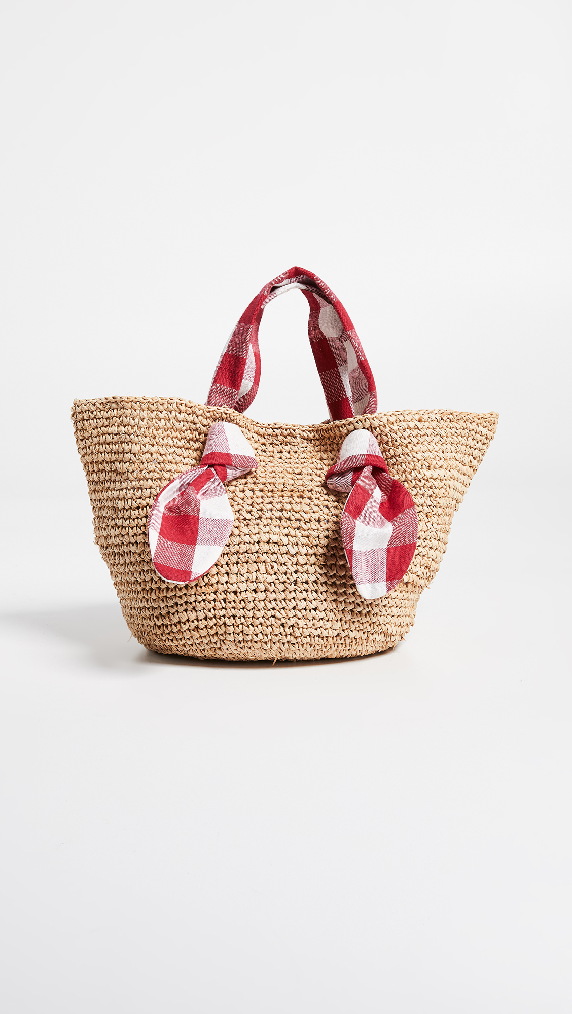 Hazel Straw Tote with Gingham Handles