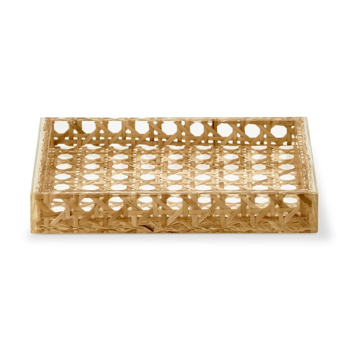 Rattan and Acrylic Bath Soap Dish