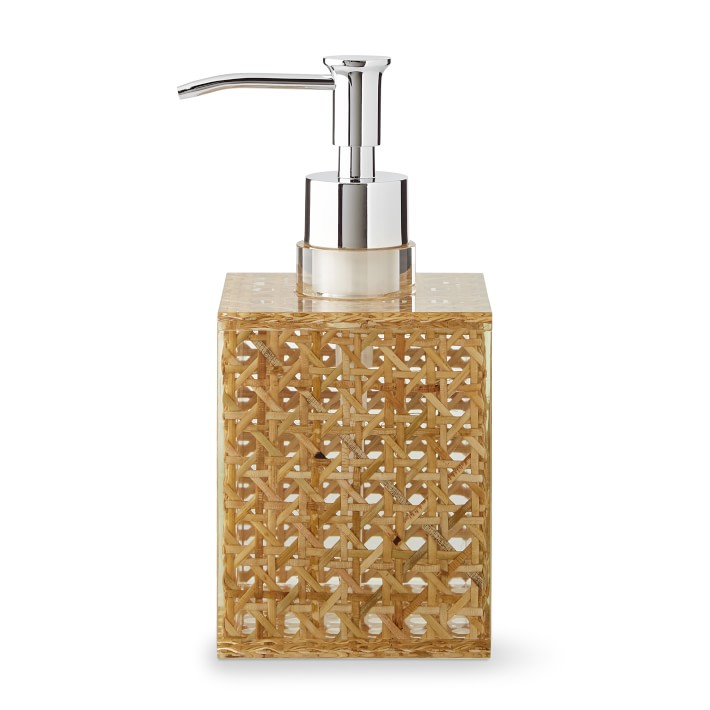 Rattan and Acrylic Bath Soap Dispenser