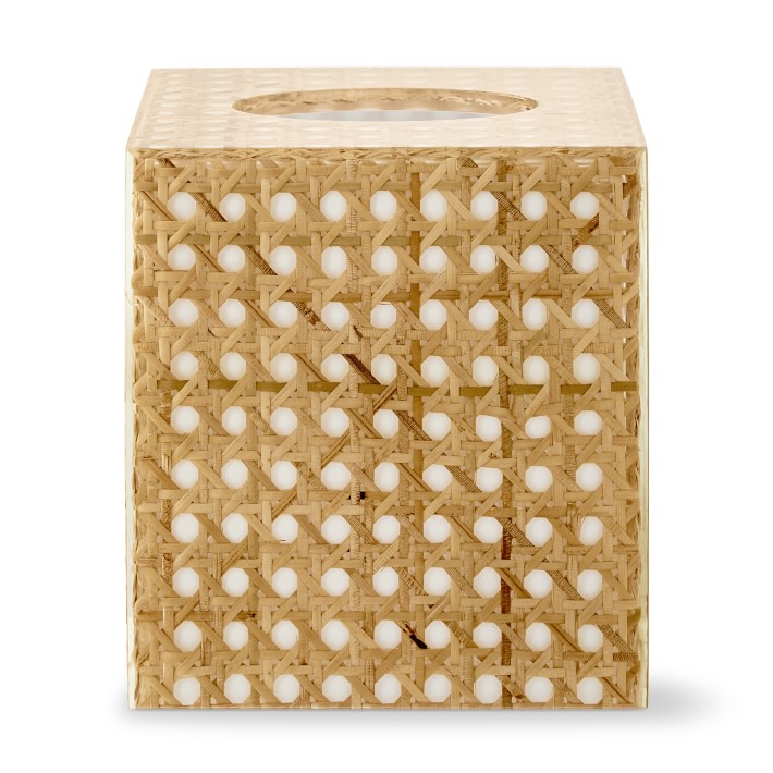 Rattan and Acrylic Bath Tissue Holder