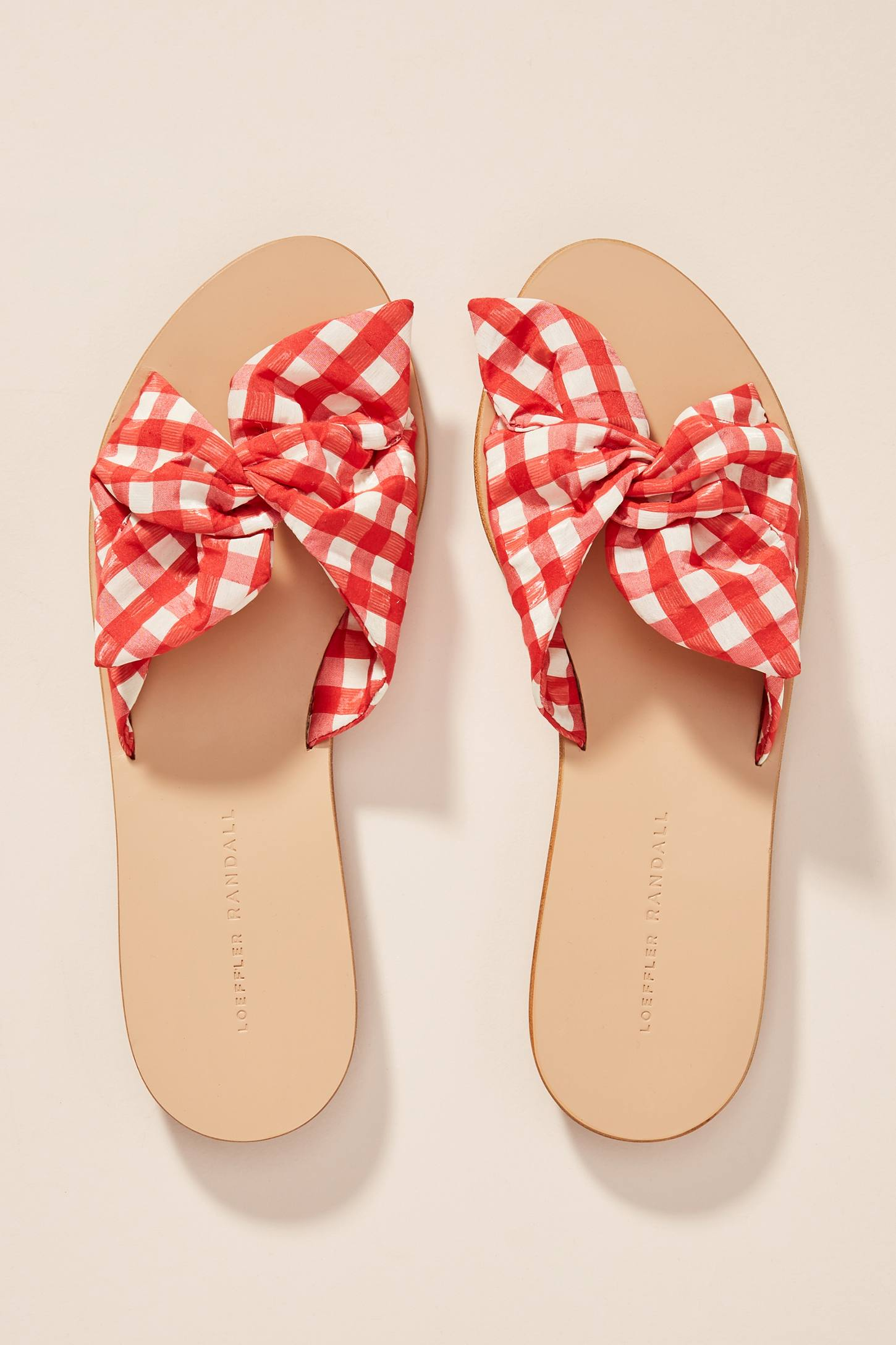 Red Gingham Knotted Slide Sandals