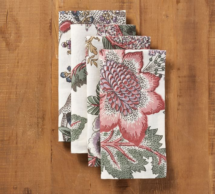 Pink Floral Napkins, Set of 4