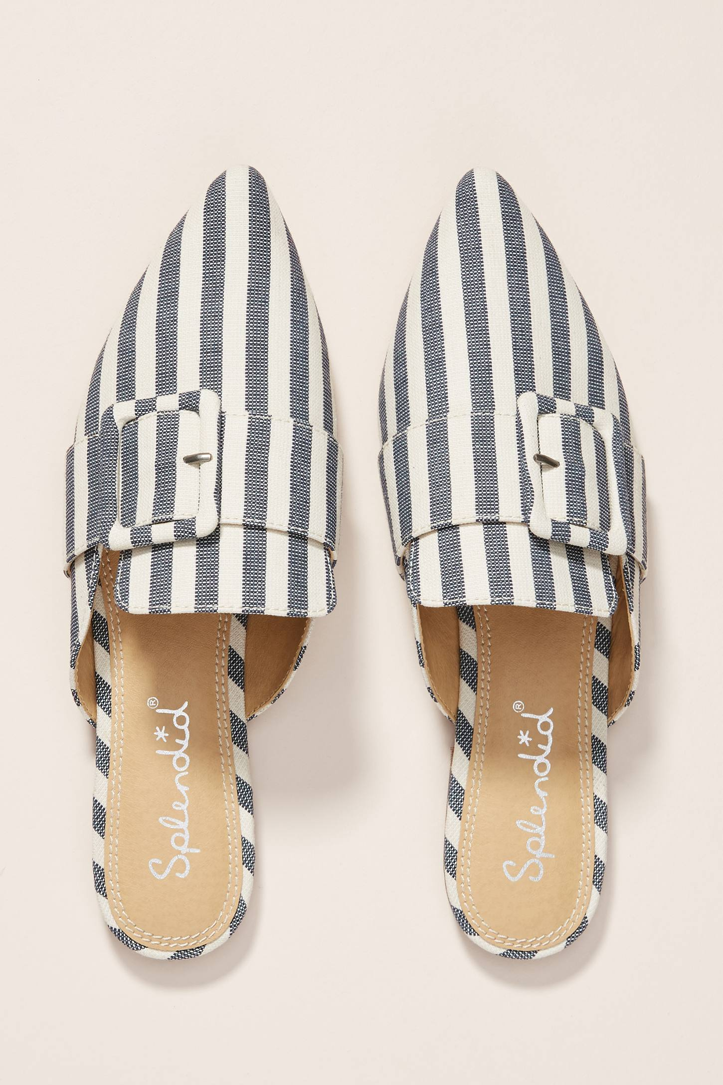 Blue and White Striped Mules