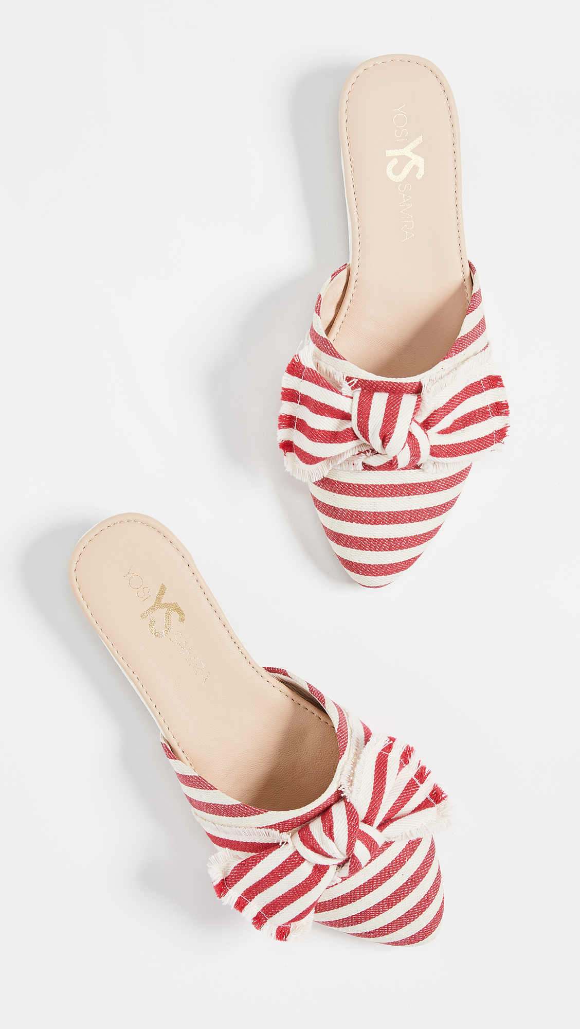 Red and White Striped Flats with Bow