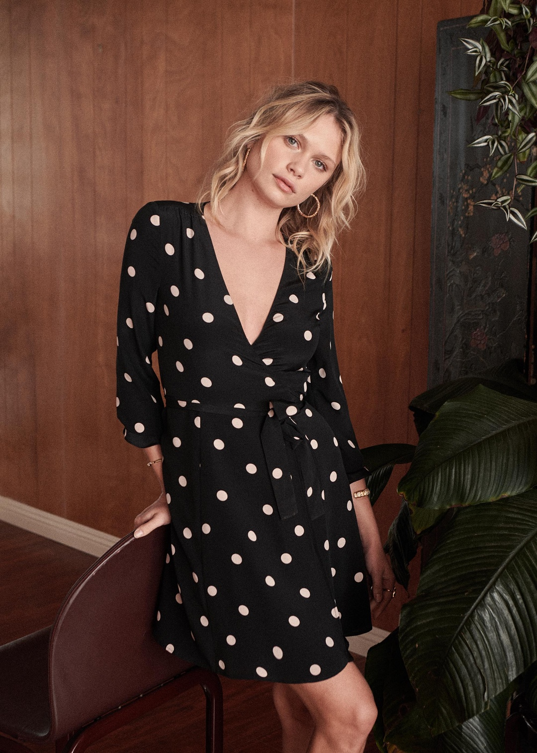 Black and White Polka Dot Wrap Dress