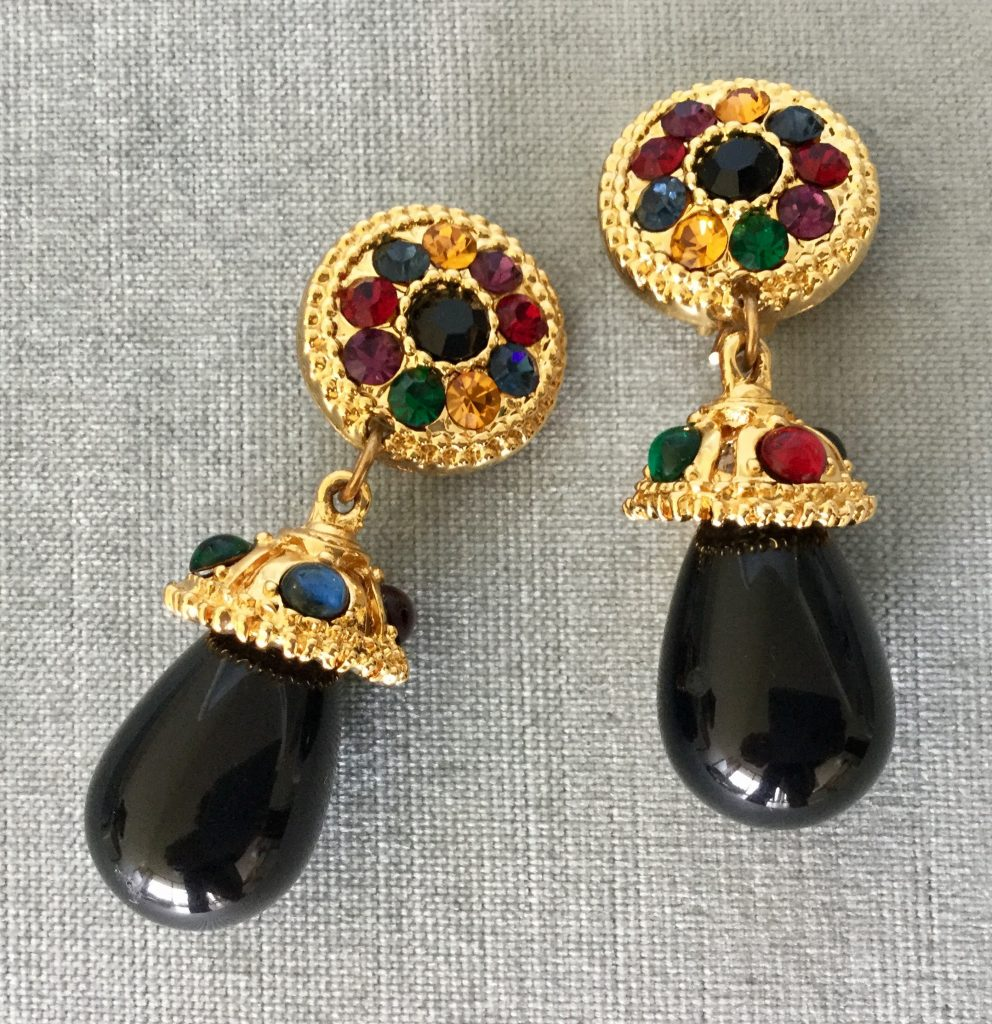 Byzantine Moghul Multicolor Cabochon Crystal Black Charm Earrings