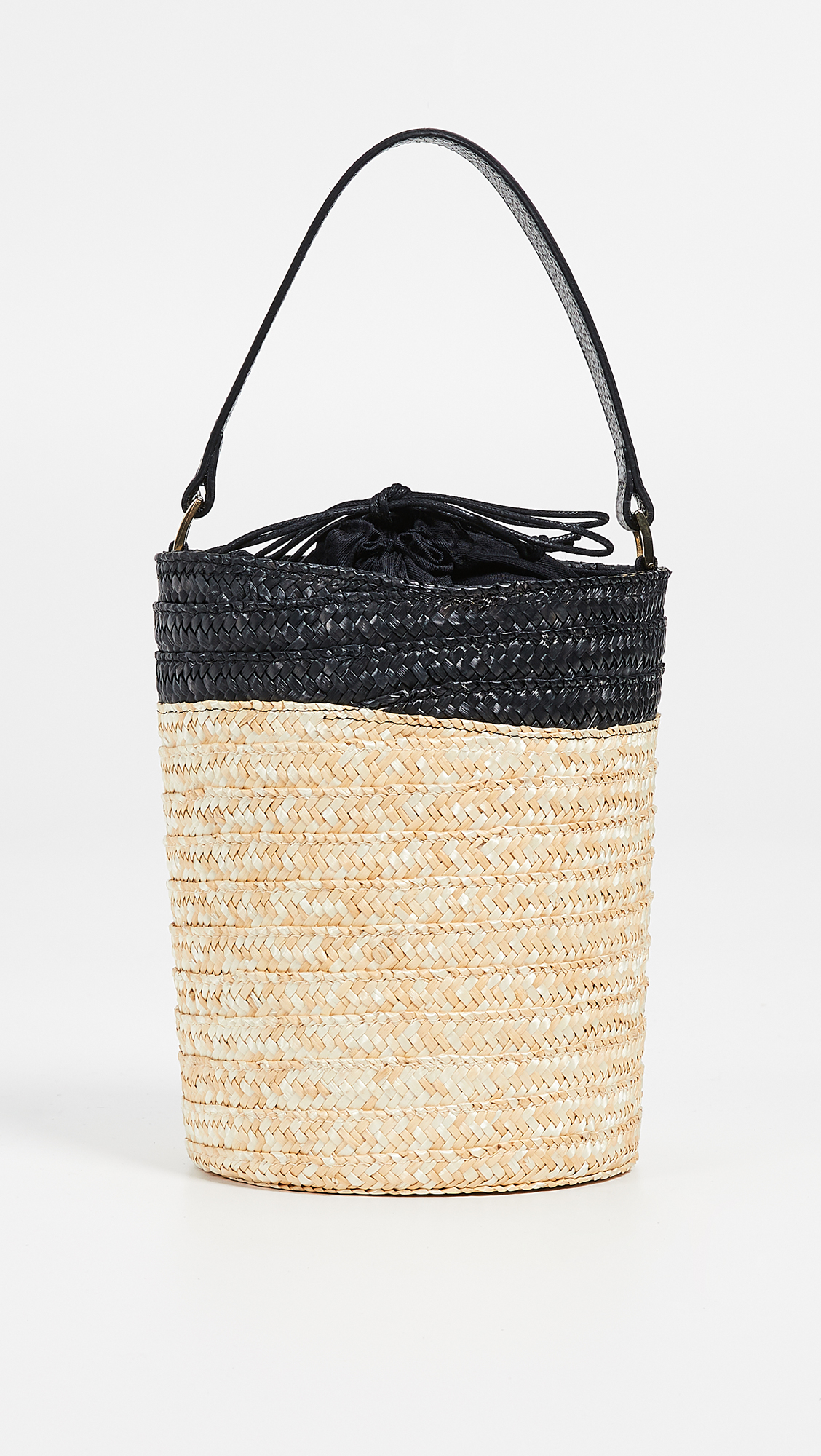 Caterina Bertini Straw Tote in Black