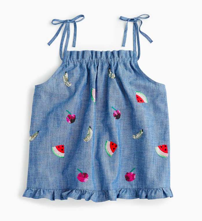 Girls' Chambray Top with Sequin Fruit