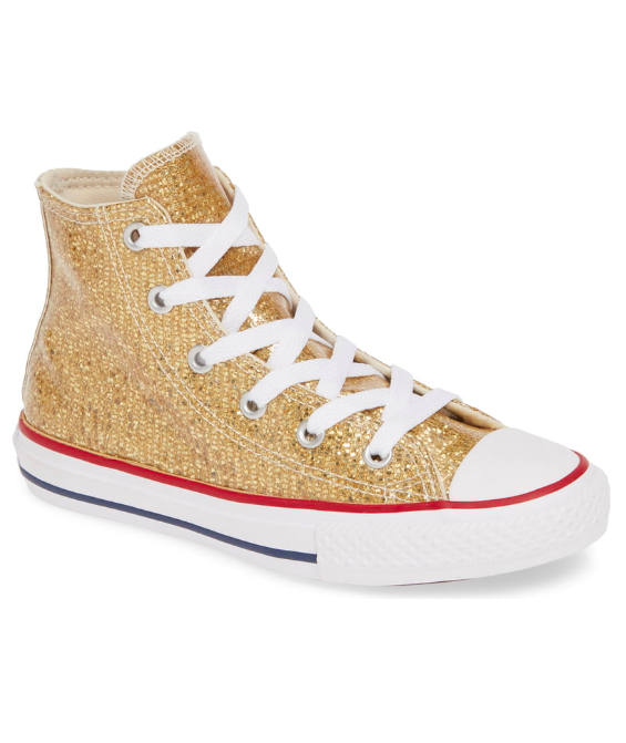 Girls' Glitter Gold Converse All Star High Top Sneaker
