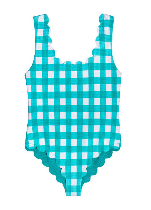 Scalloped Gingham Swimsuit