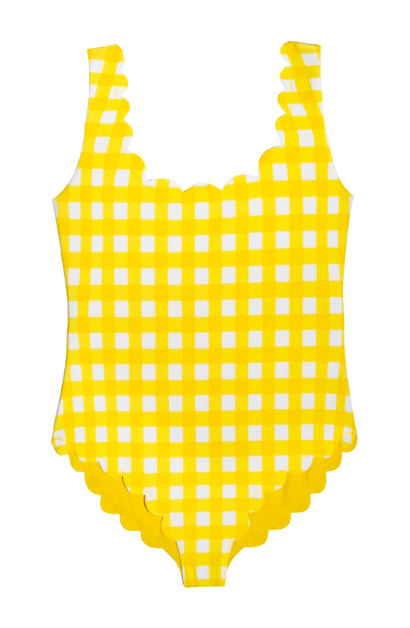 Girls' Scalloped Yellow Gingham One-Piece Swimsuit