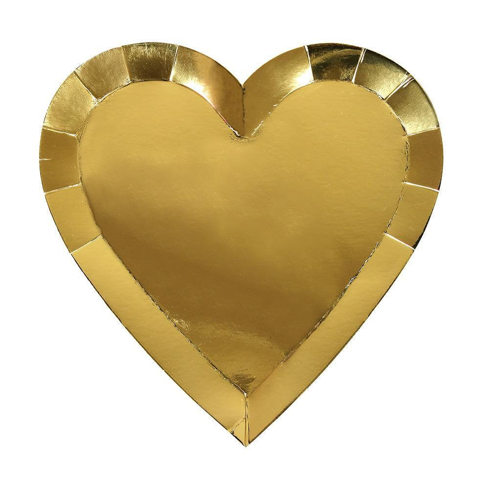 Gold Heart Shaped Paper Plates