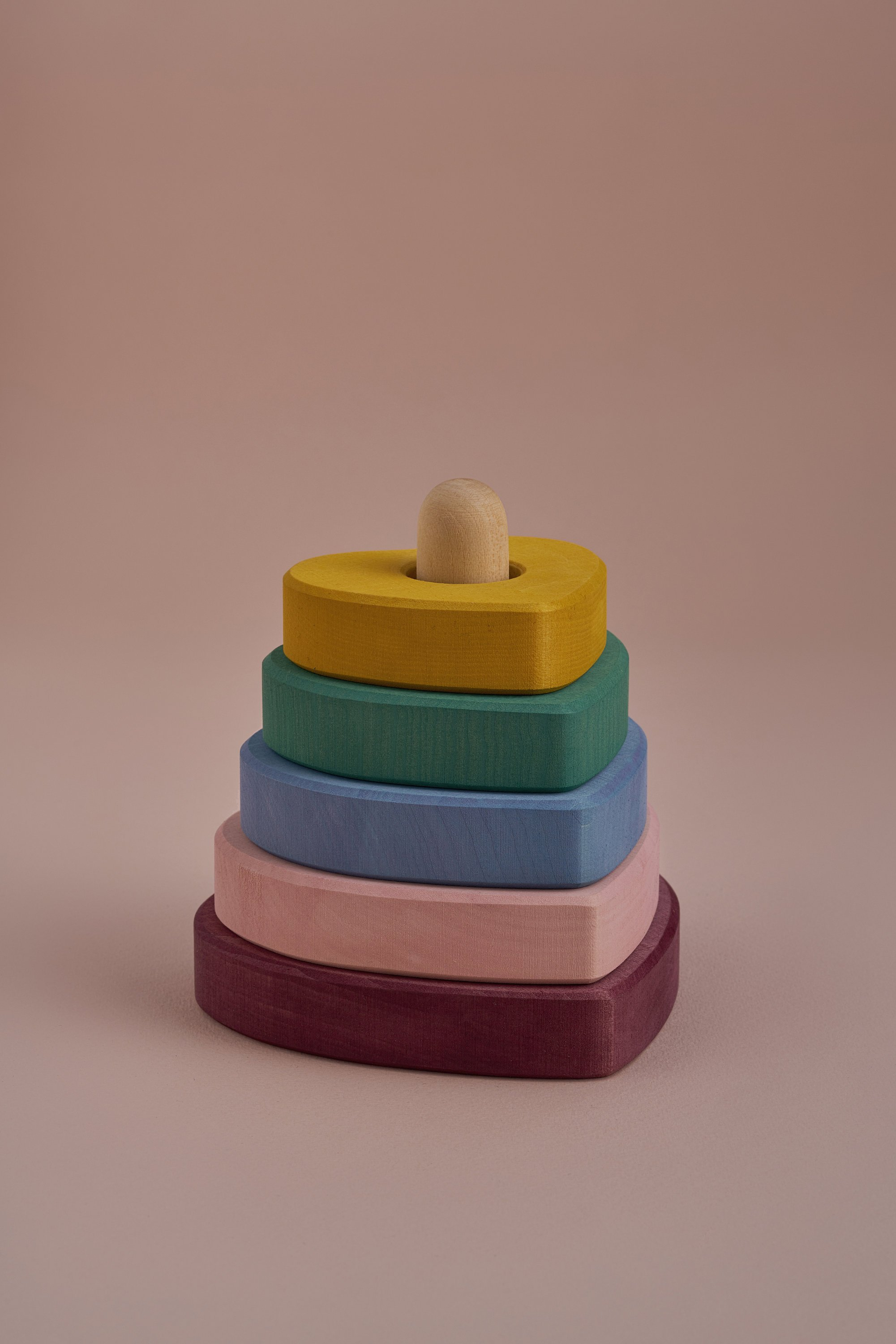 Stacking Rainbow Hearts Wooden Toy Set for Kids