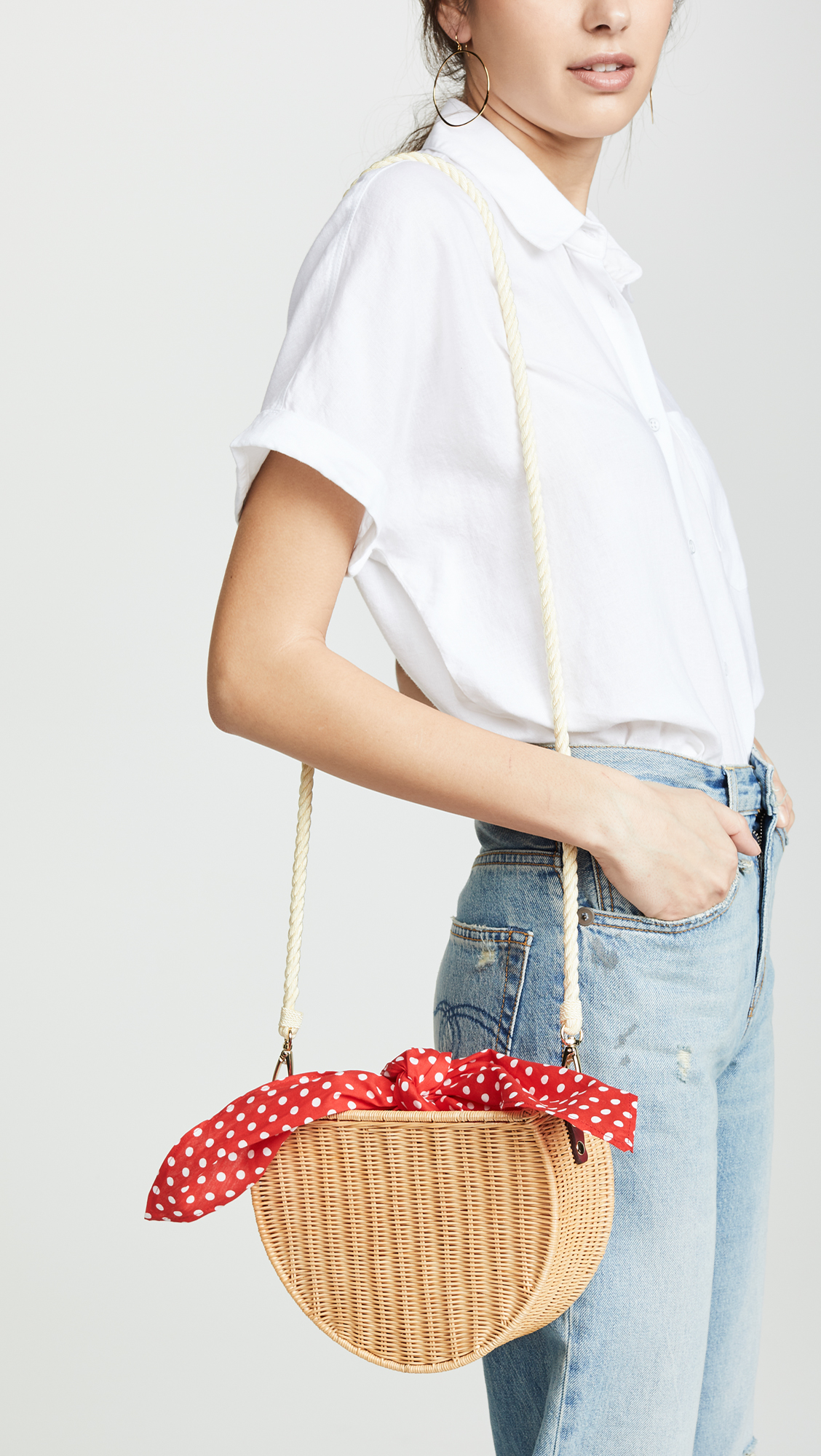 Red Polka Dot Wicker Bag
