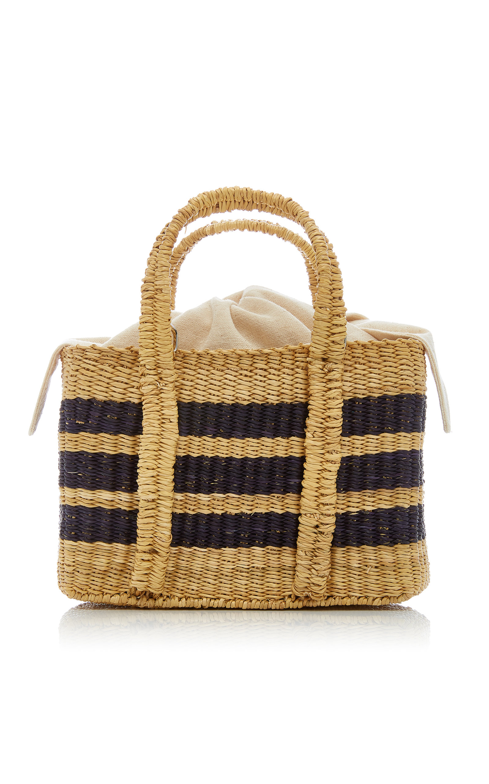Mini Striped Straw Tote