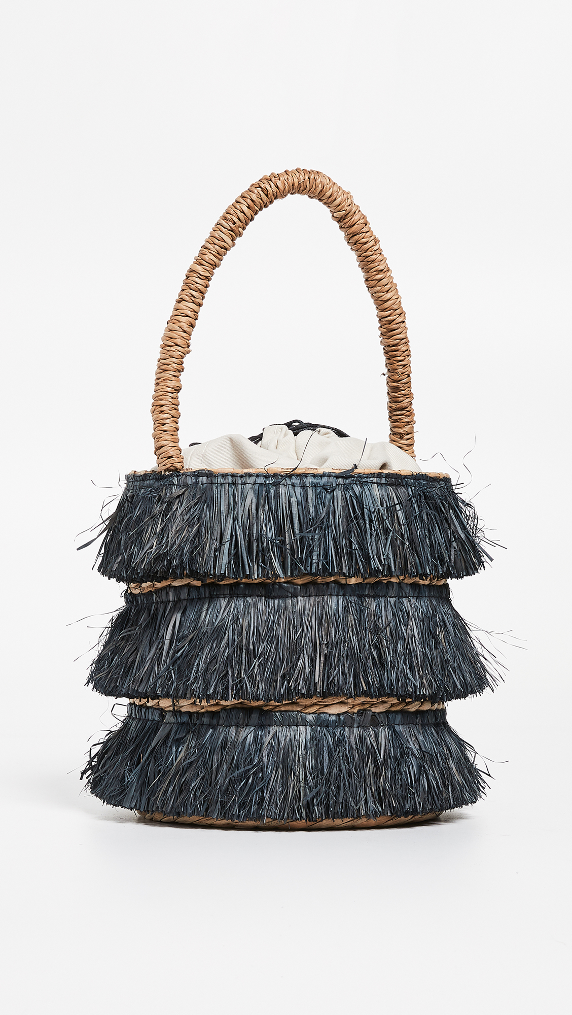 Straw Fringe Bucket Bag