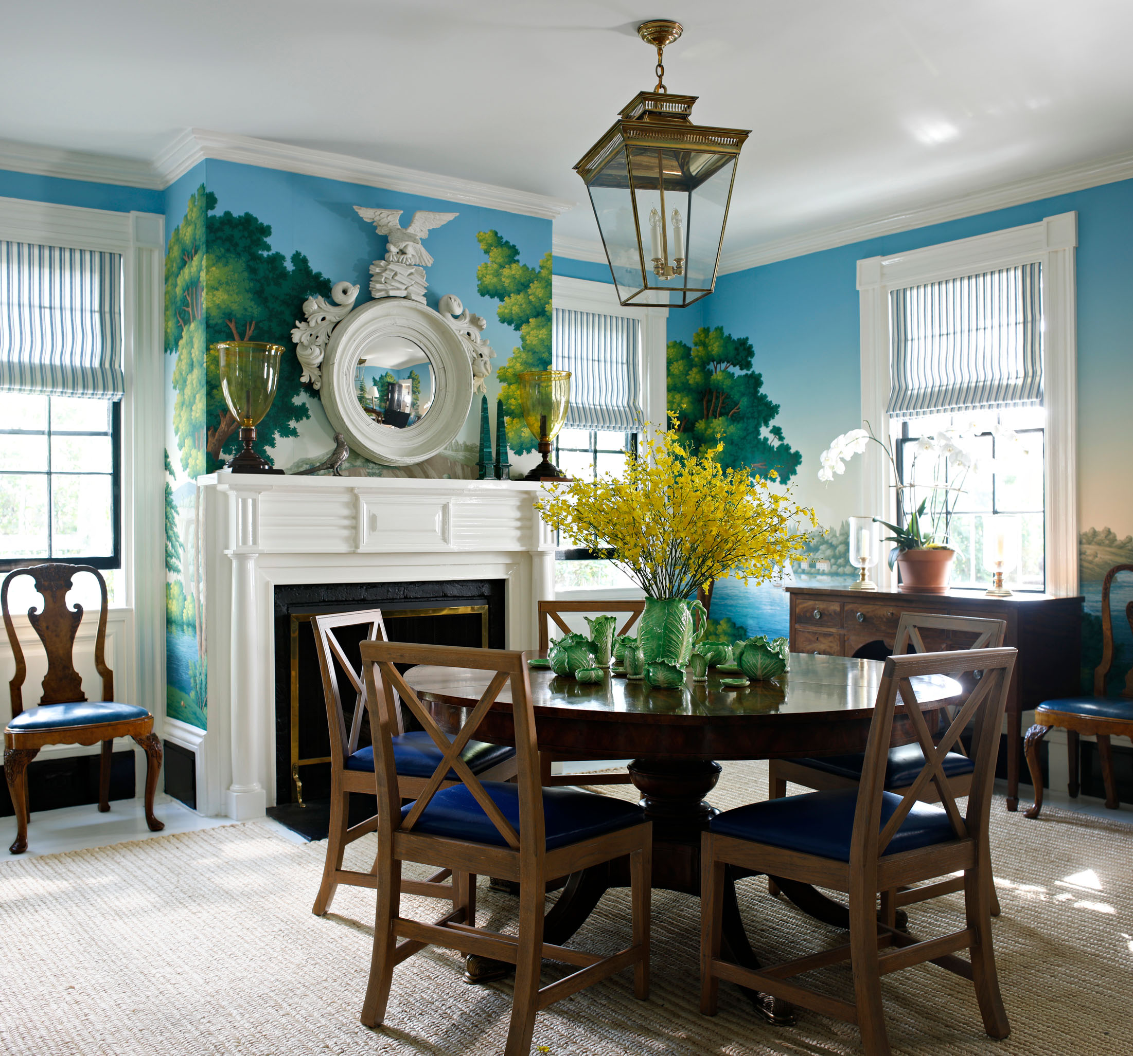 De Gournay scenic wallpaper Sag Harbor dining room by Nick Olsen