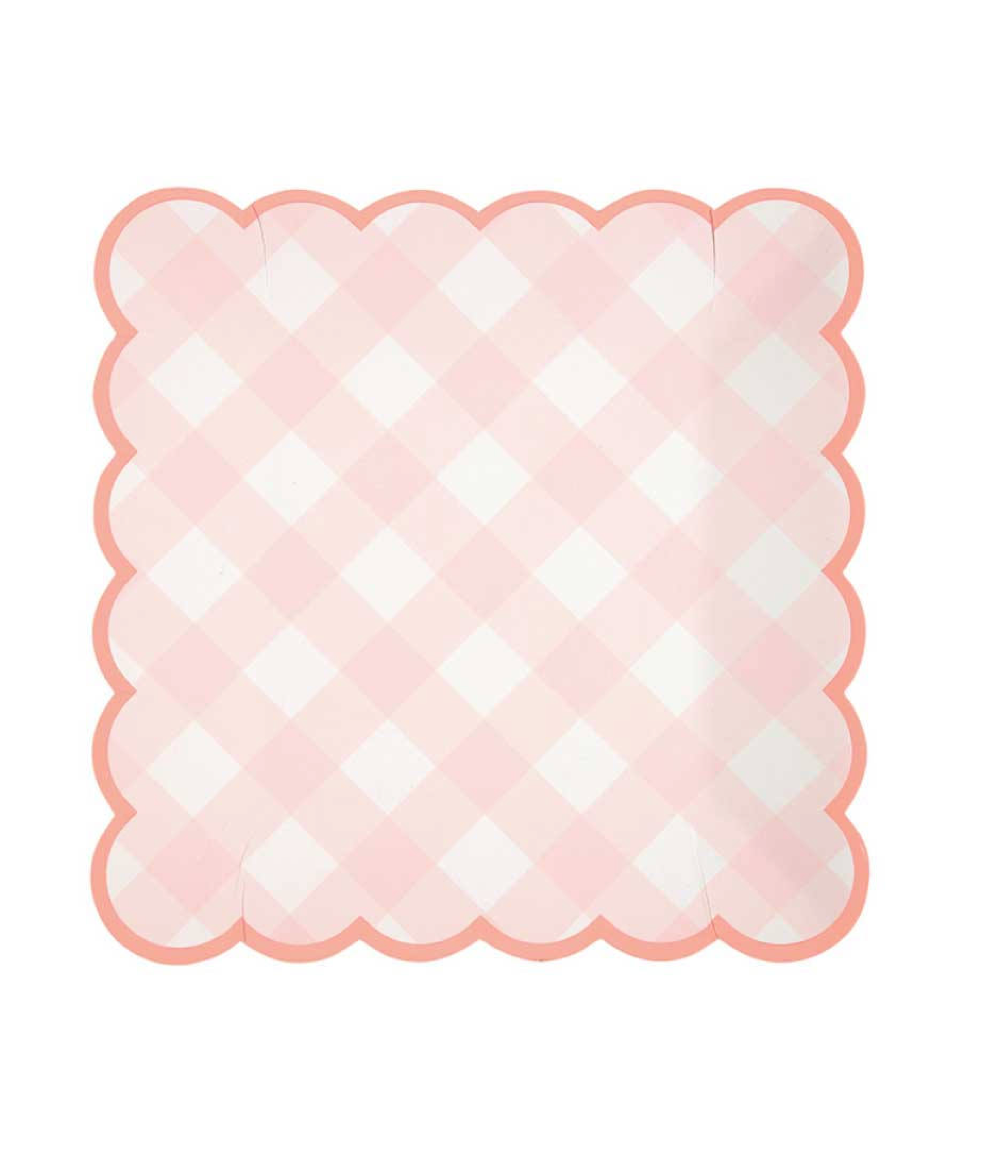 Pink Gingham Plates