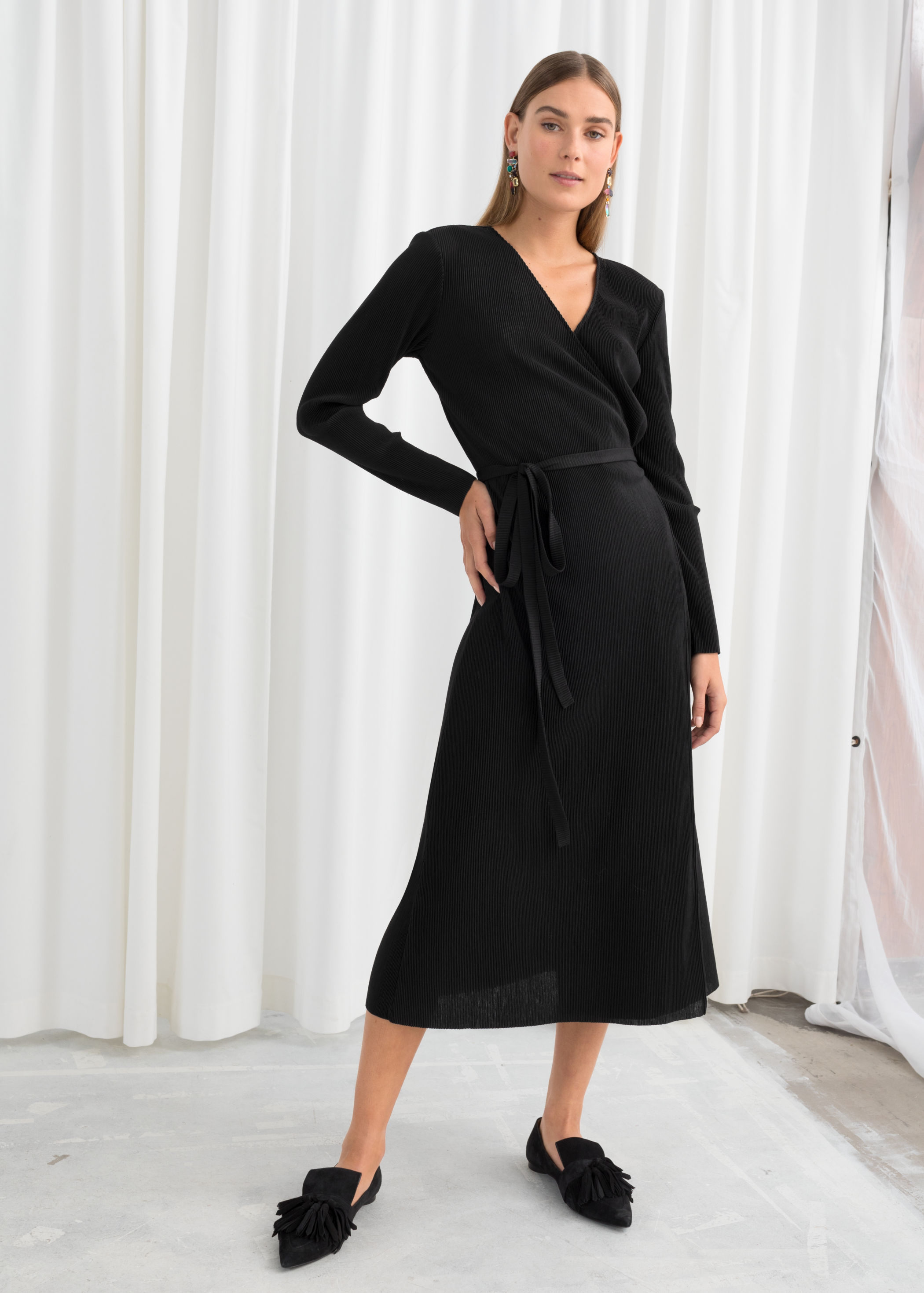 Long Sleeve Midi Wrap Dress
