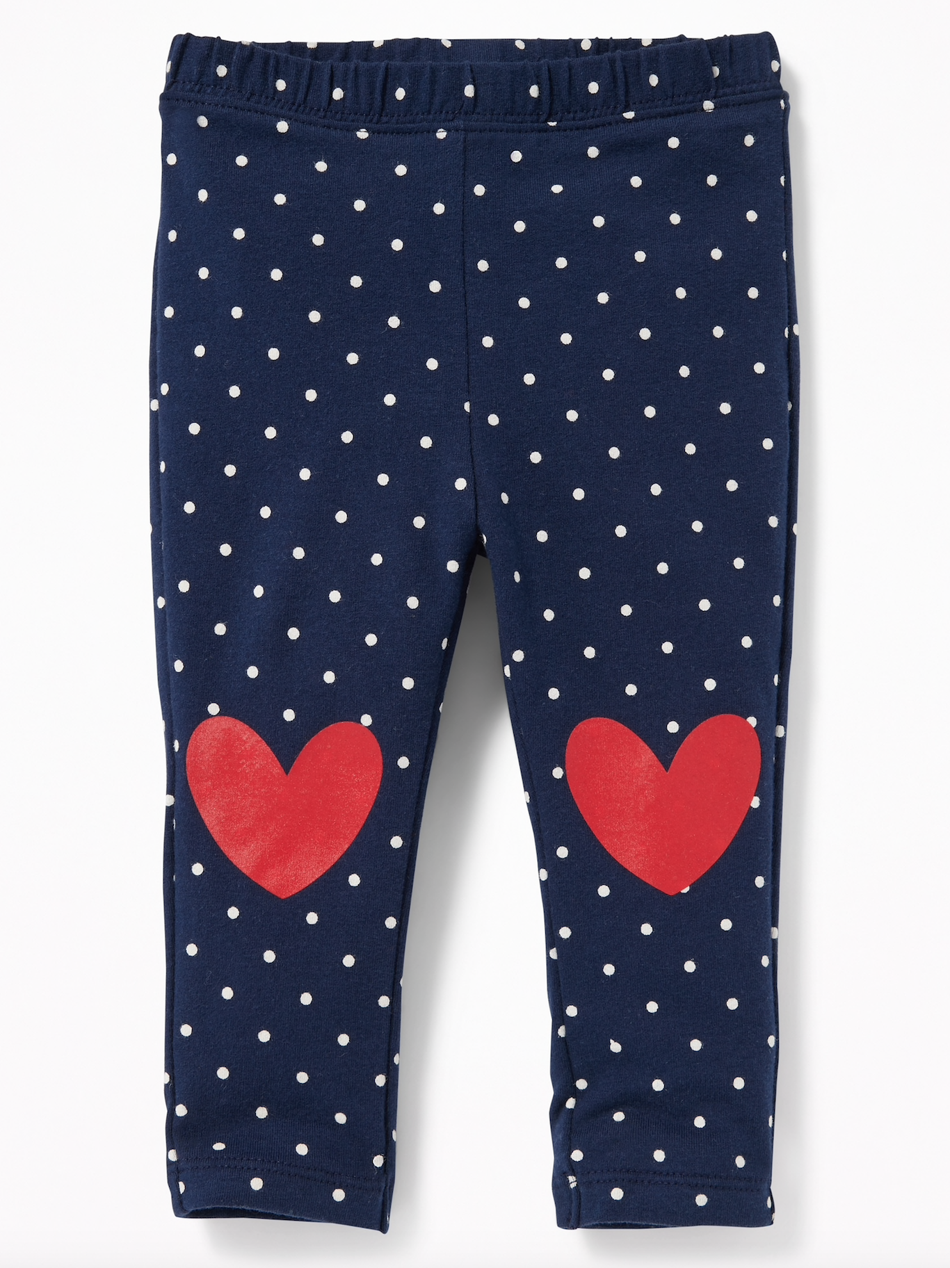 Polka Dot Heart Patch Leggings