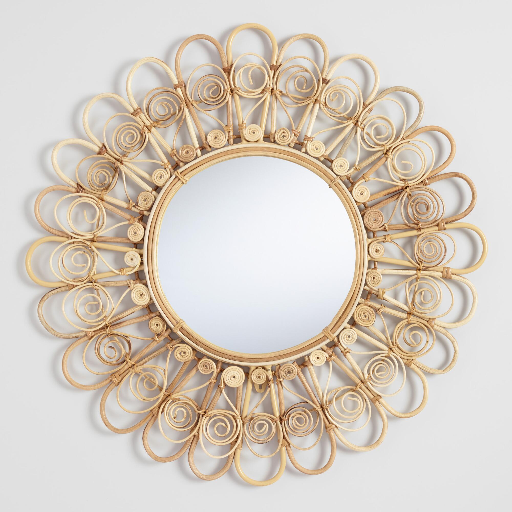 Round Wicker Peacock Mirror