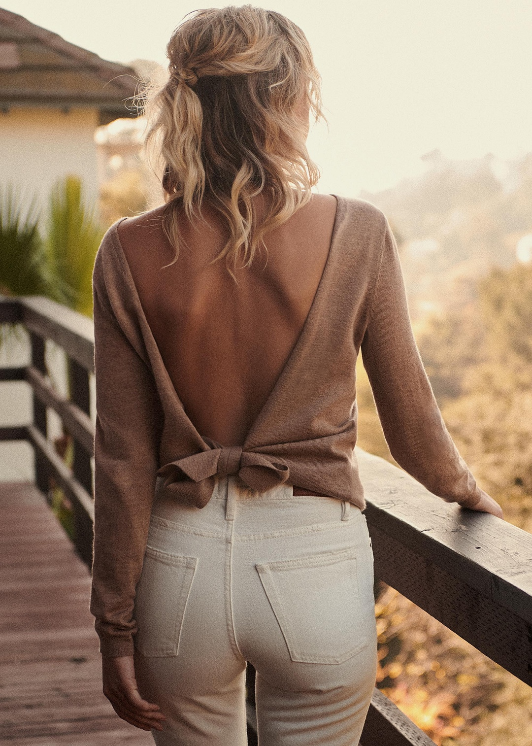 Bow Back Camel Sweater White Jeans