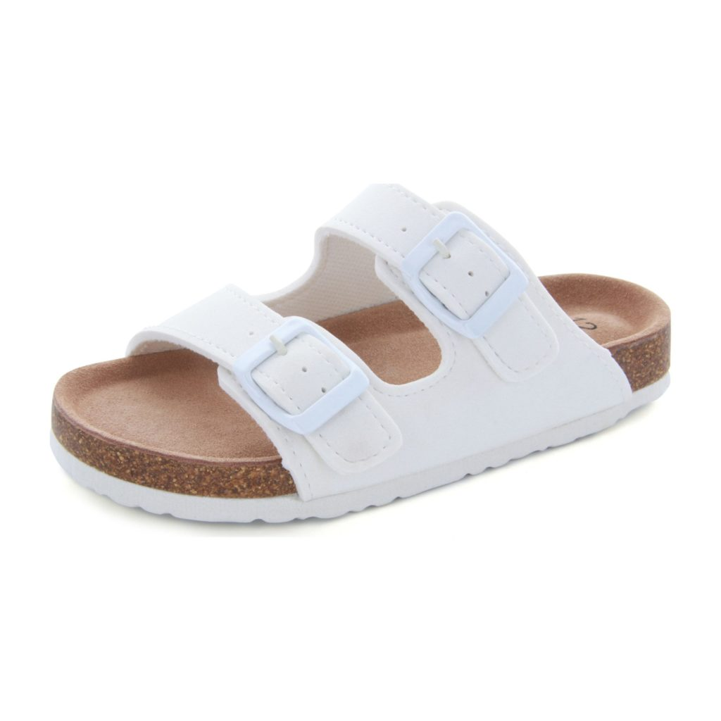 White Girls Double Strap Slide Sandals
