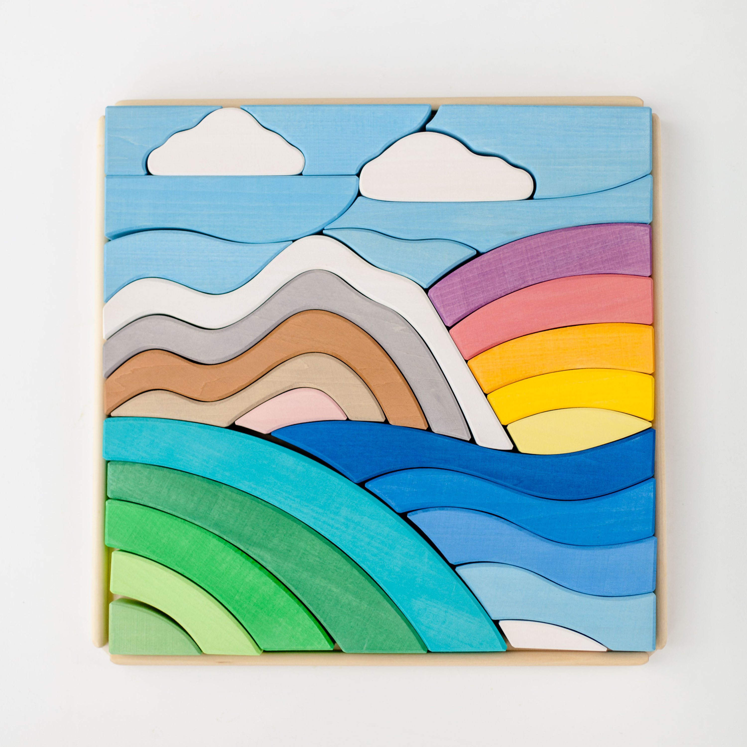 Rainbow Mountains Wooden Block Puzzle for Kids