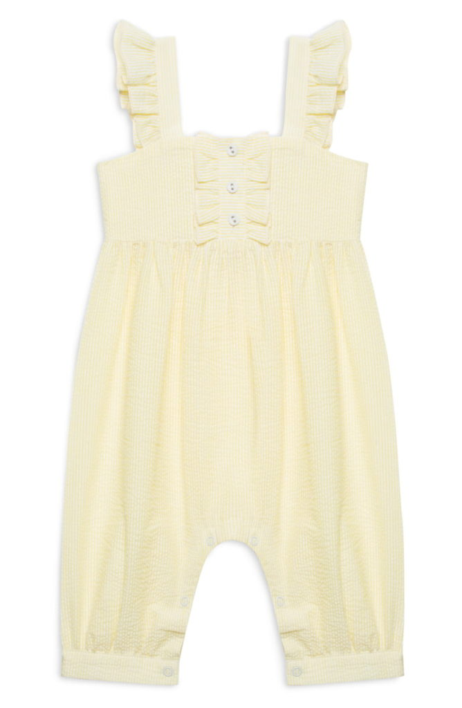 Yellow Seersucker Romper Baby Girl