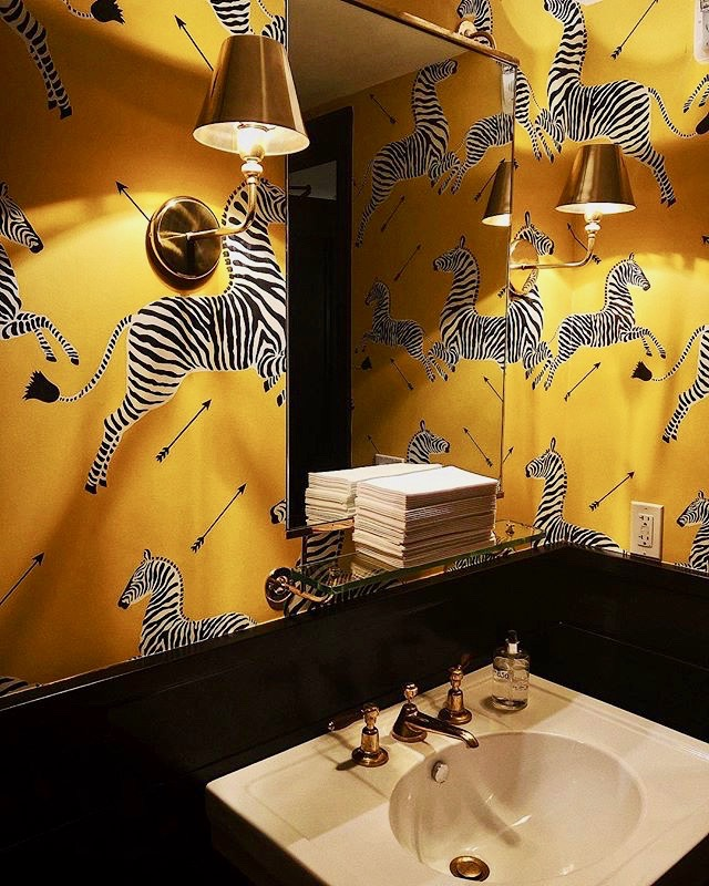 Yellow Scalamandre Zebra Wallpaper at 850 Hotel West Hollywood by Rita Konig