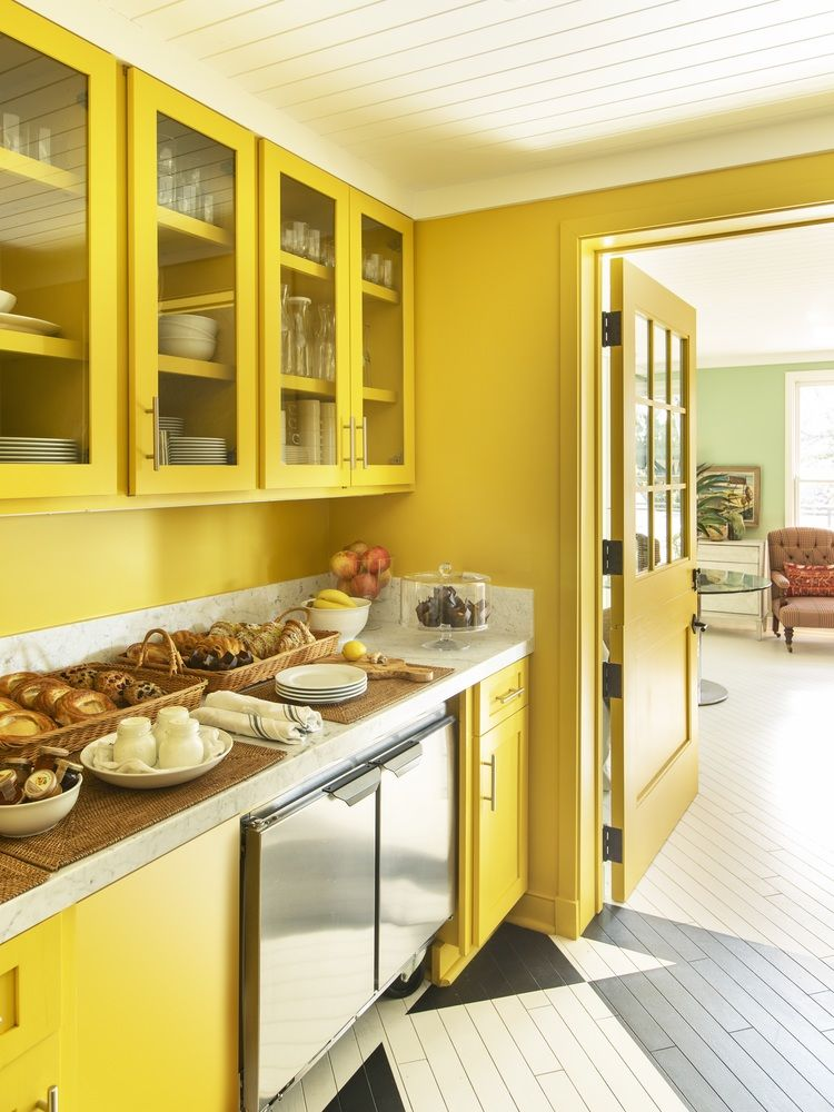 Canary Yellow Kitchen at 850 Hotel West Hollywood by Rita Konig