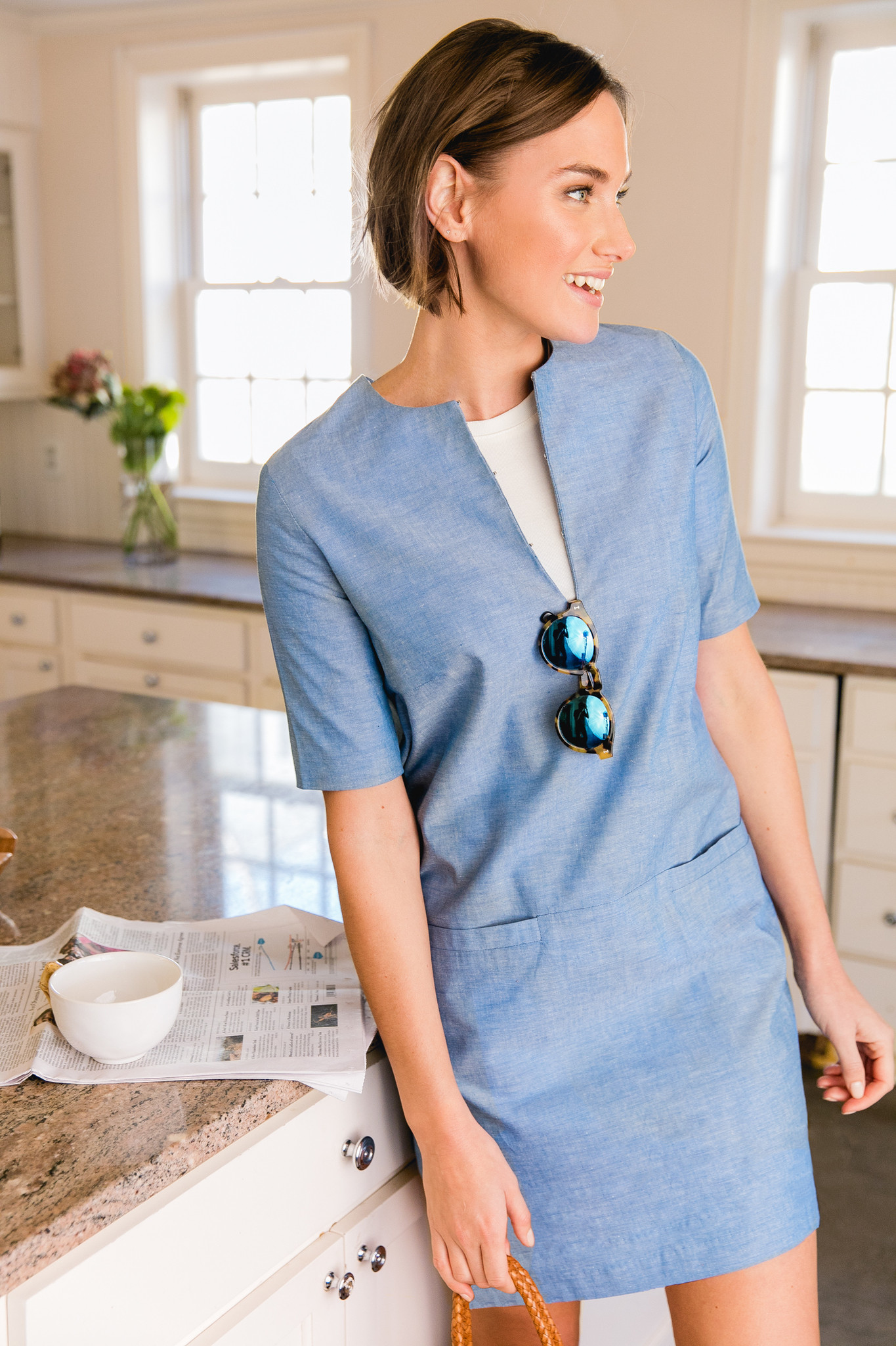 Blue Shift Dress with Pockets Brunette Bow Haircut and Tortoise Sunglasses