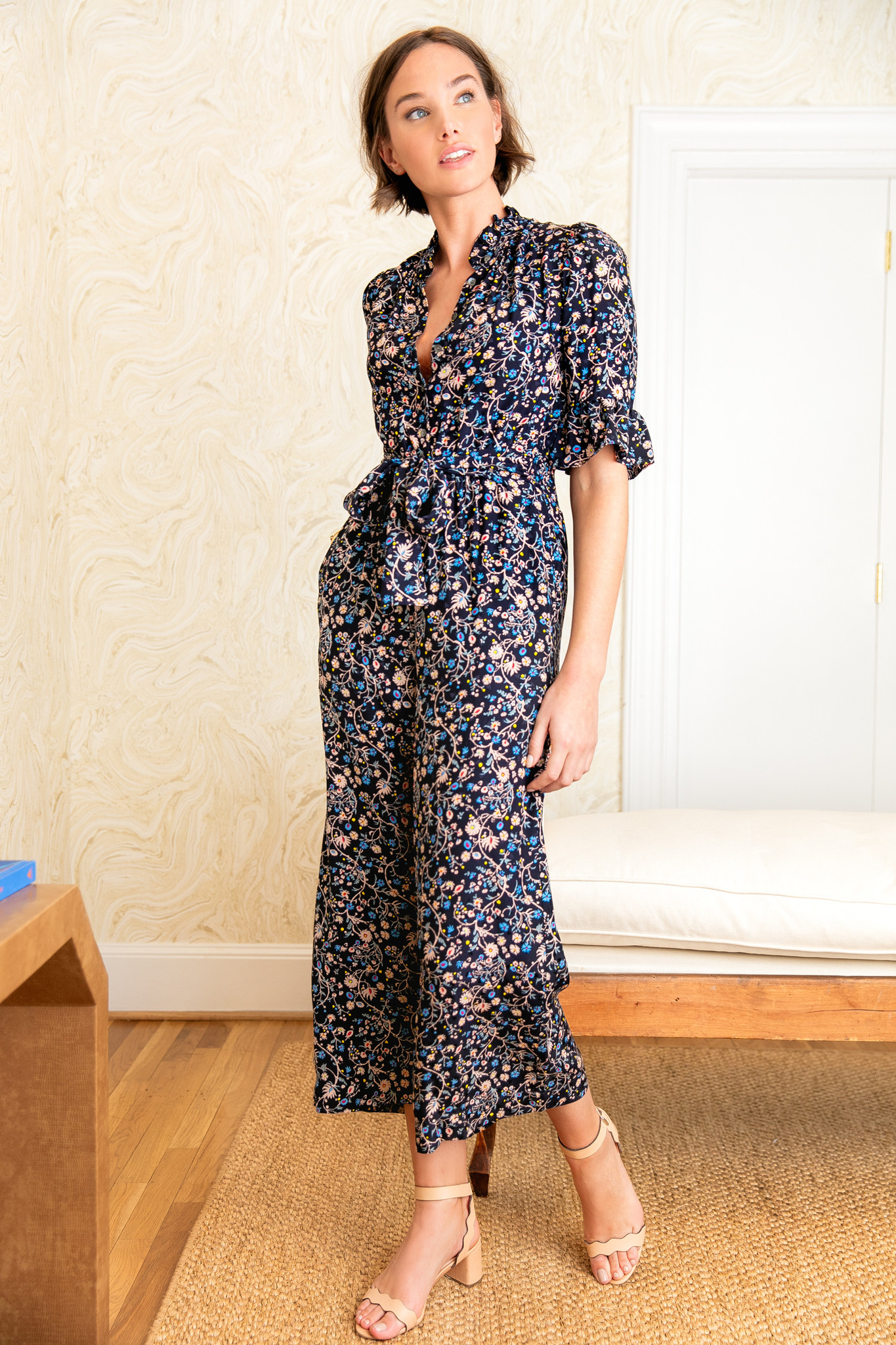 Floral Ruffle Blouse and Wide Leg Pants with Sandals and Brunette Bob Haircut